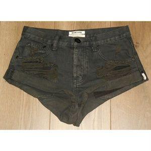 One Teaspoon Black BANDIT Shorts 24 Rolled Cuff